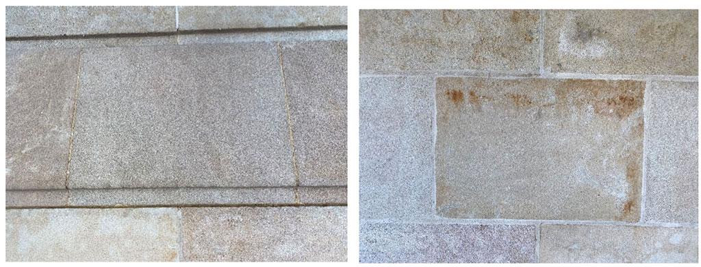 Antes y después de la limpieza de la piedra natural.