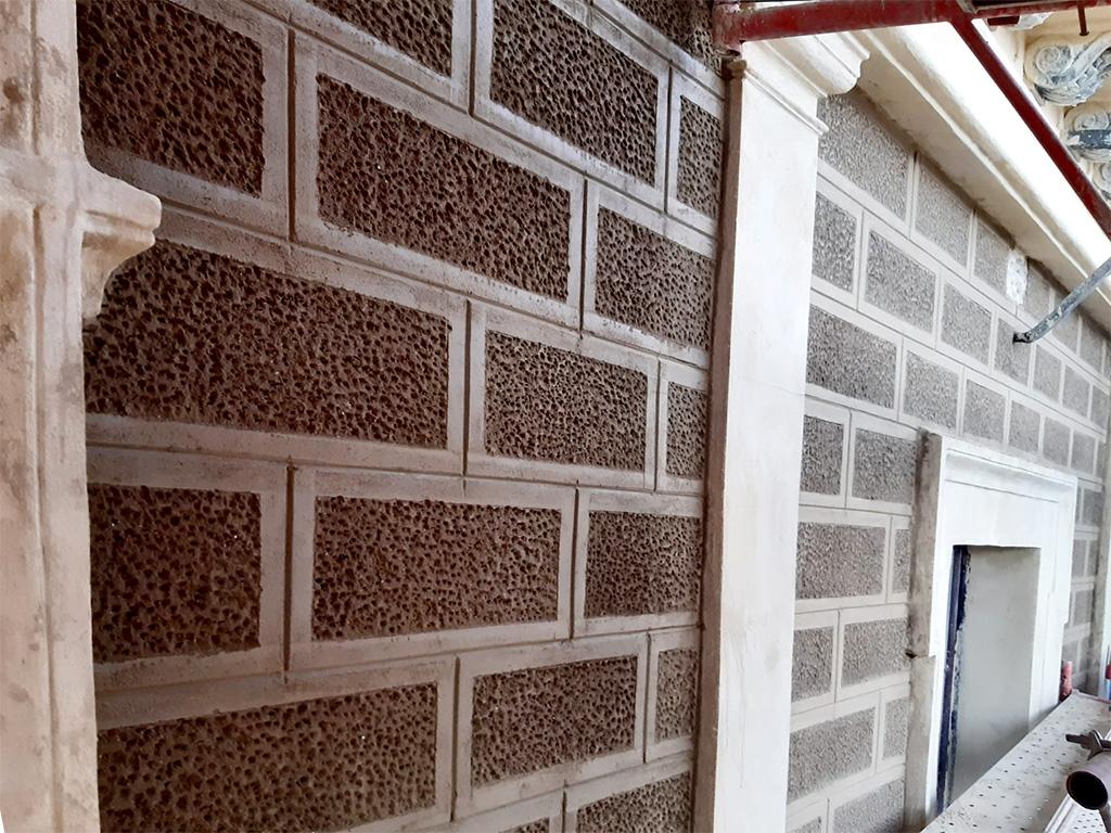 Detalle vista silleria abujadada fachada