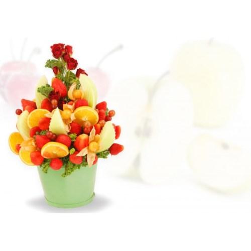 Roses & Golden Berries Arrangement, Valentines day fruit basket, fruit bouquet, Valentines day gift, Valentines gift delivery Ajax