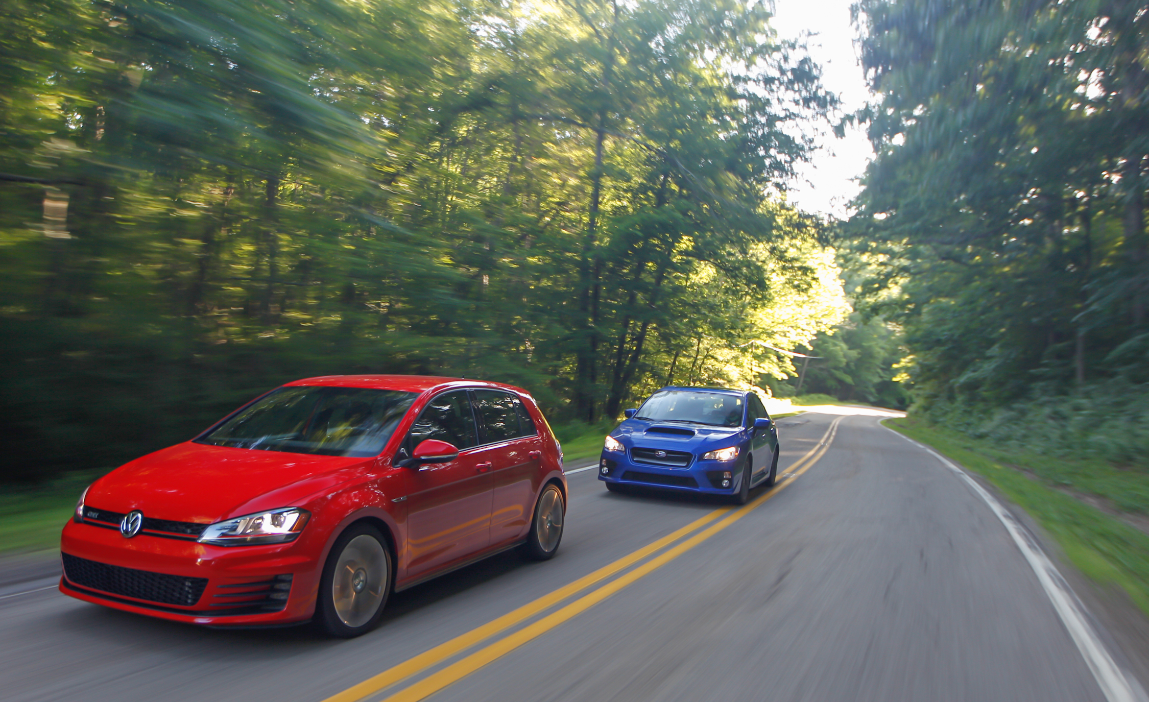 2015 Volkswagen GTI and 2015 Subaru WRX Exterior Preview