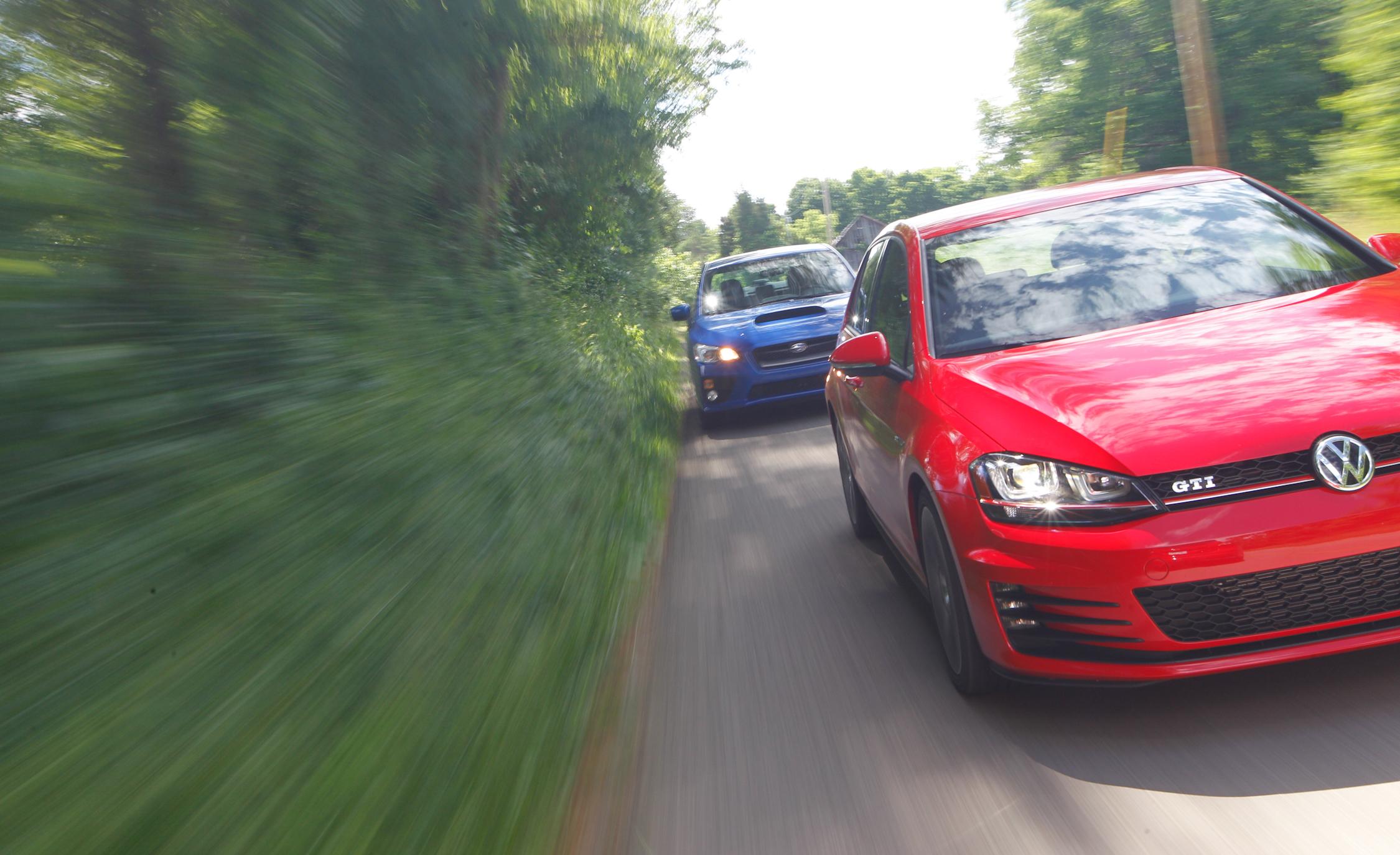 Front Photo 2015 Volkswagen GTI and Subaru WRX
