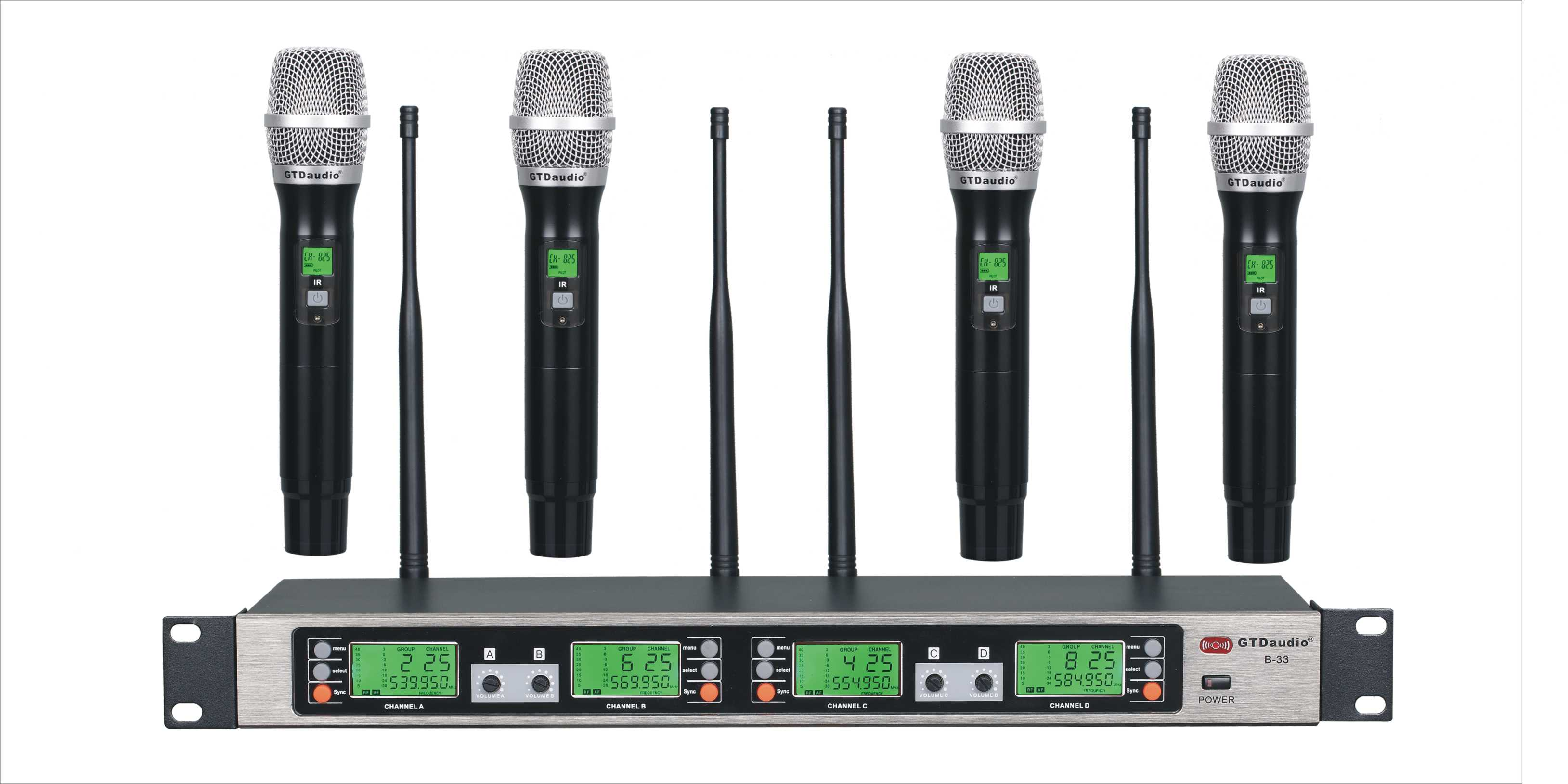 Gtd Audio B 33h Uhf 4x100 Channel Wireless Microphone Metal Mic Body 500 Mhz