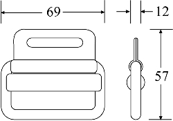 KBB5006 - Knurl Bar Buckle - Diagram