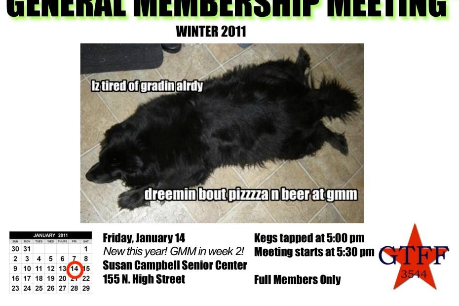 flier for the Winter Term General Membership Meeting