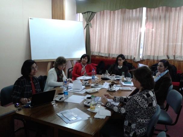 Las participantes en plena reunión