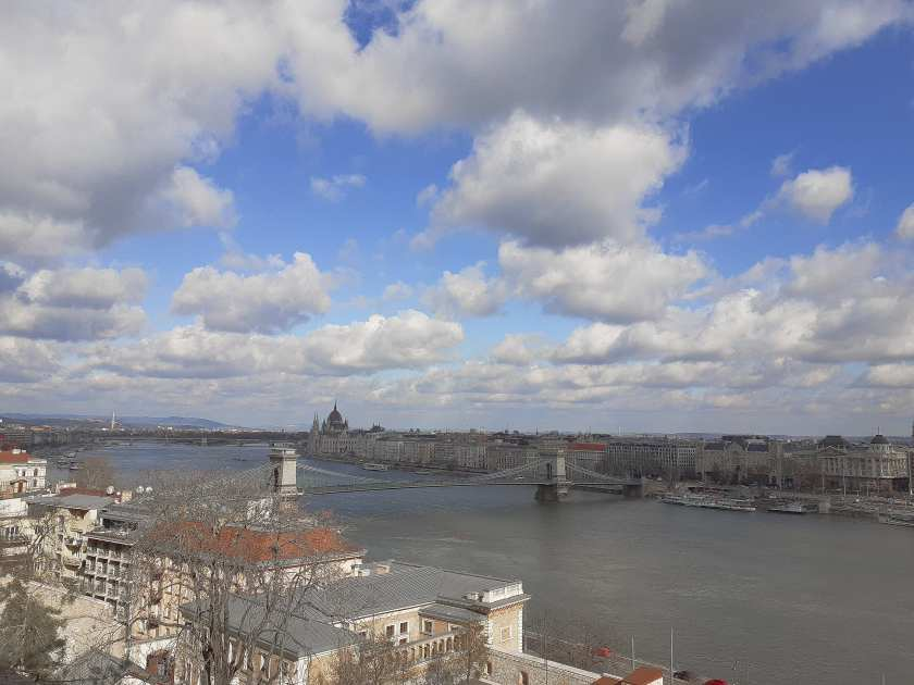 The Danube River, Chain Bridge, and Parliament Building in the distance, as seen from Castle Hill