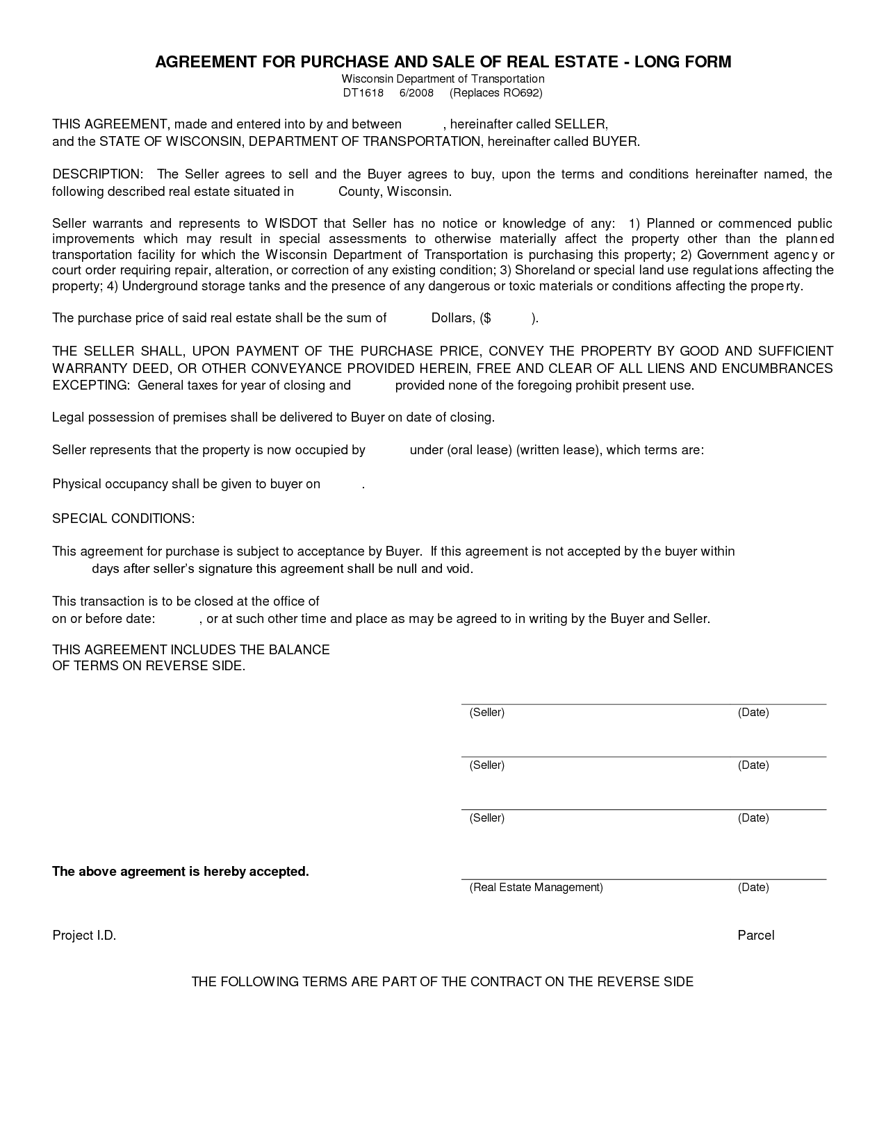 Blank Purchase Agreement
