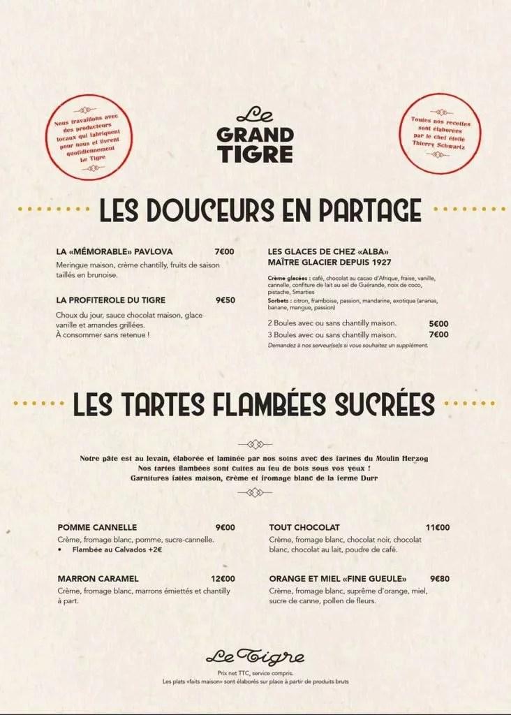 Carte des desserts à la Brasserie du Tigre à Strasbourg