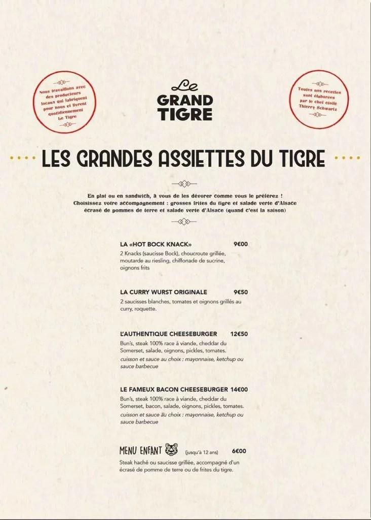 Carte des plats à la Brasserie du Tigre à Strasbourg