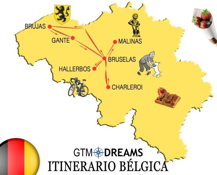 mapa itinerario viaje belgica
