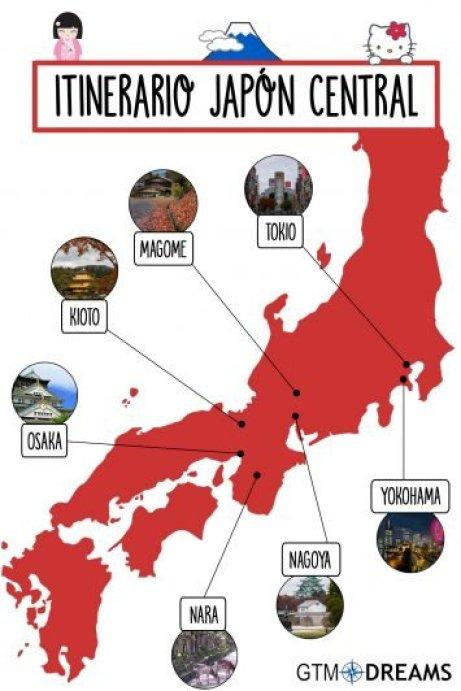 itinerario viaje japón central en 19 días