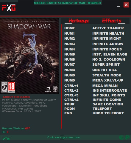 Middle-earth: Shadow of War: Trainer (+15) [1.0] {FutureX}