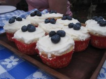 Lemon Cupcakes with Strawberry Filling, Cream Cheese Frosting, & Blueberries - https://gttebykate.wordpress.com/2011/09/05/bye-bye-strawberries-blueberries-and-white-pants/