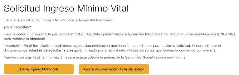 Acceder a la web del ingreso mínimo vital