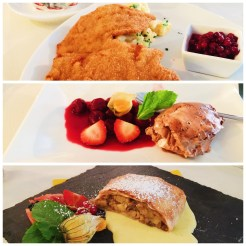 8. A lunch at the start of the trip, of a pork schnitzel, a thinned boneless piece of meat which is fried after a coating of flour, eggs, and breadcrumbs. For desserts, we had chocolate mousse with cherry jam, apple strudel, as well as an ice-cream sundae (not pictured).