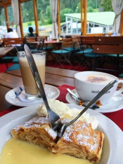 16. A dessert of apple strudel, caramel sauce, cream, and ice-cream, after the short experience at the sommerrodelbahn, in the same café where we had lunch.