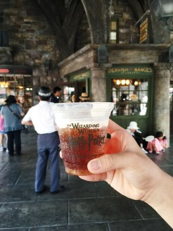 13. Butterbeer was on sale at the The Wizarding World of Harry Potter, in Universal Studios Japan, and it was a very sweet soft drink. It tastes like root beer with vanilla foam on the top.