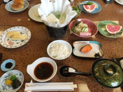 20. Our traditional Japanese breakfast at the ryokan – or Japanese inn – we stayed in, consisting of tofu, eggs, miso soup, salad, rice, and other small dishes.