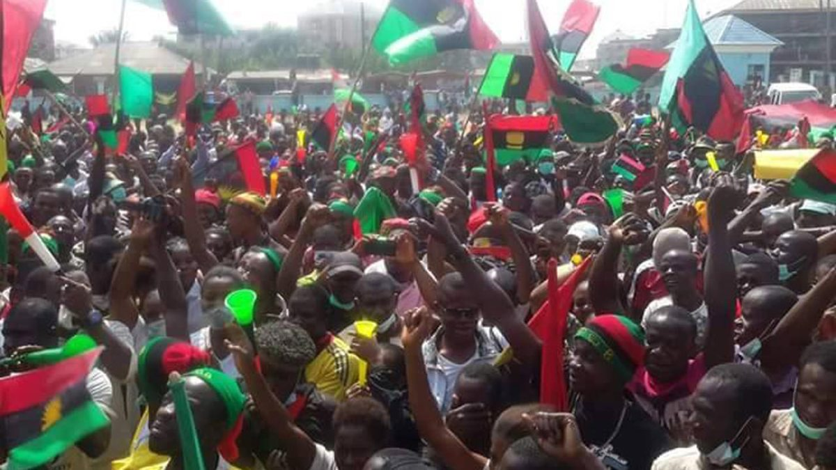 biafrans ipob with flags - Court reserves judgment in suit seeking to vacate IPOB's proscription