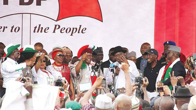 Image result for photos of  Makarfi at the convention; Jonathan at the convention