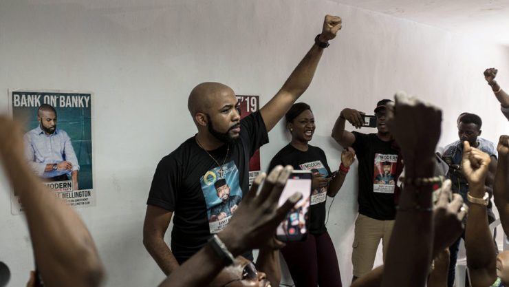 "Image result for banky VOTING  2019 ELECTIONS: BANKY W RAISES ALARM – "" … IN IKOYI, THE STAFF DIDN'T BRING ANY HOUSE OF REPS BALLOT PAPERS..""  ( VIDEO) 000 1D456M 1062x598"