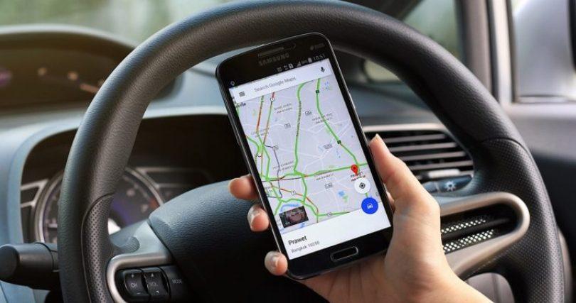 Man using Google Maps navigation