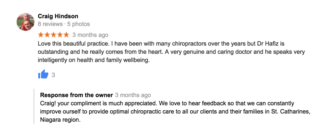Love this beautiful practice. I have been with many chiropractors over the years but Dr Hafiz is outstanding and he really comes from the heart. A very genuine and caring doctor and he speaks very intelligently on health and family wellbeing.