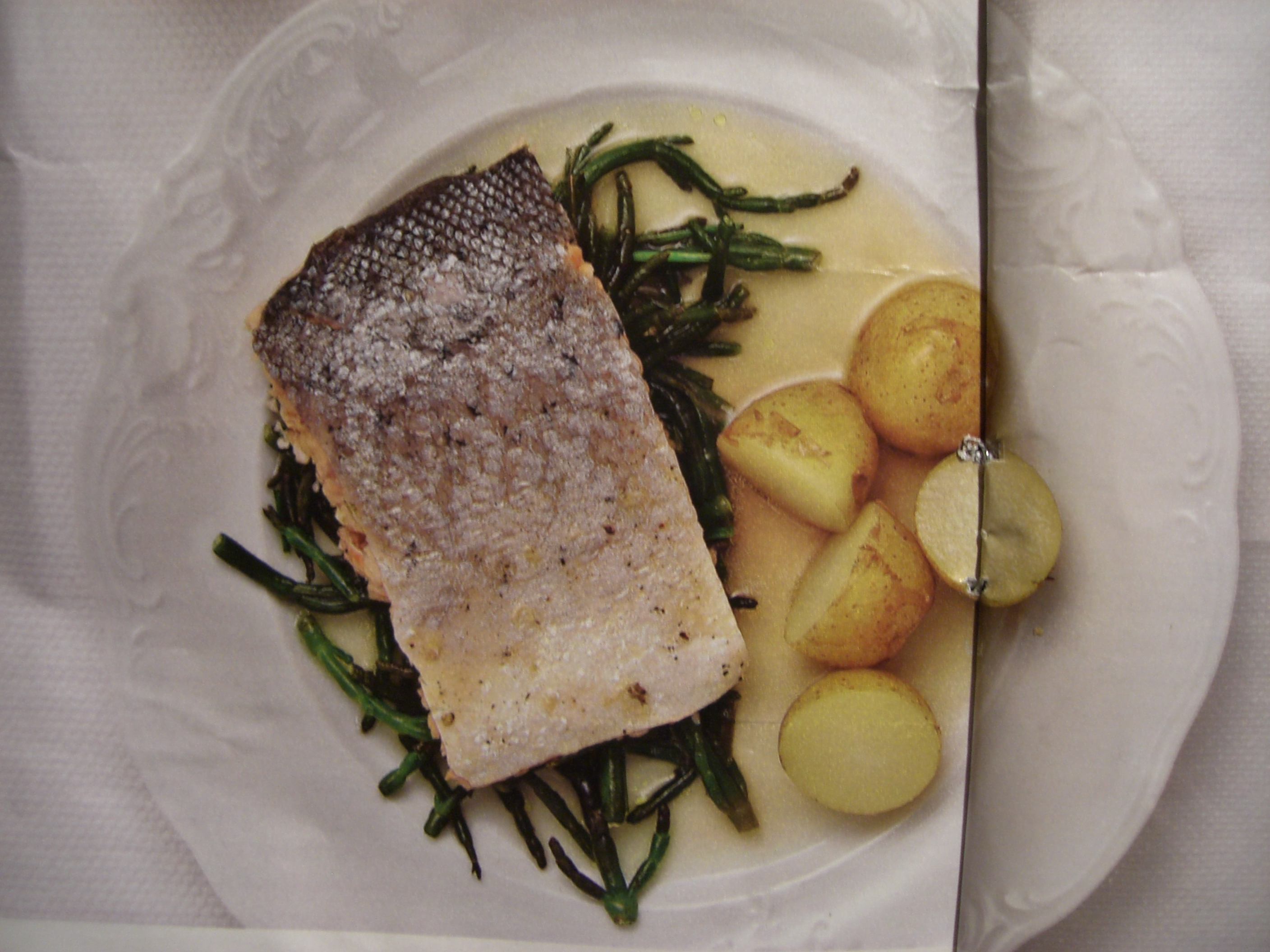 Sea trout with samphire
