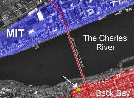 Map of MIT Charles River and Back Bay in Boston