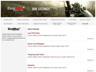 New job listings appear on ZeniMax Media's site for Battlecry Studios