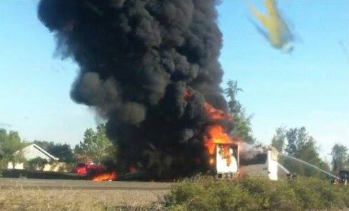 Truck Crashes Into Tour Bus on California I-5, 50 Injured [Update]