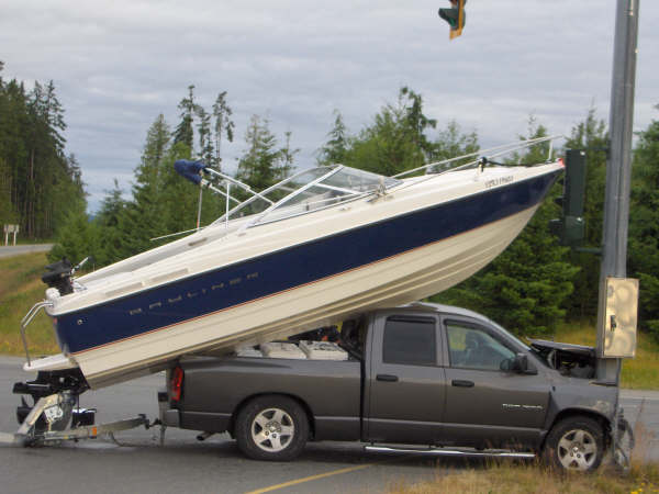 Boat trailers will prevent dangerous yet intriguing situations like this.