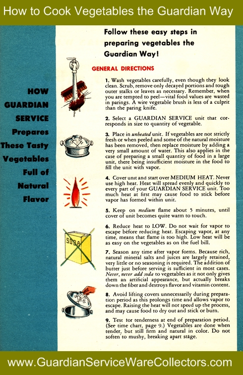 How to cook vegetables the Guardian Way www.GuardianServiceWareCollectors.com