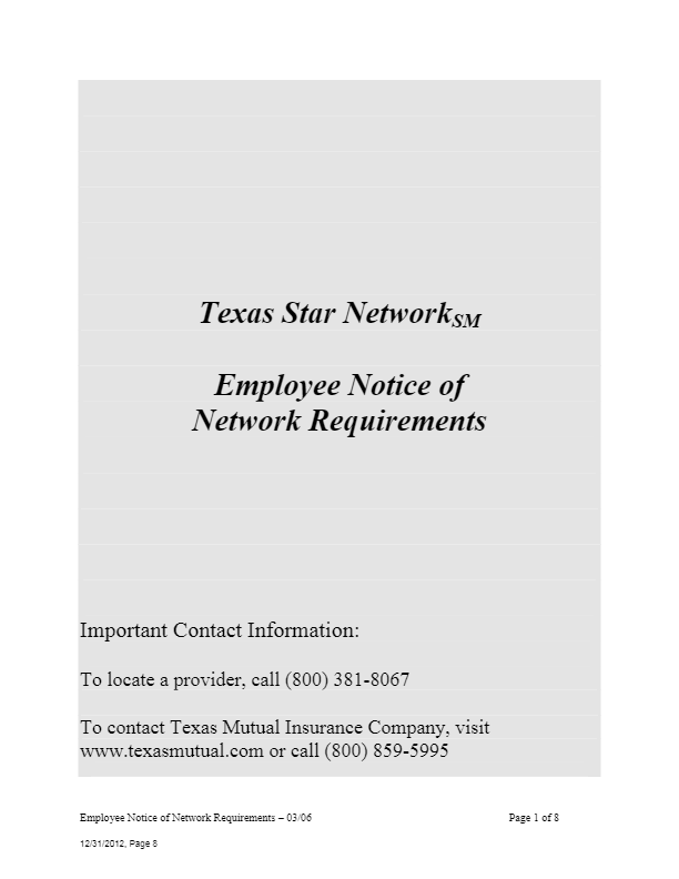 Texas Star Network Notice