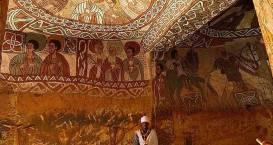 Pinturas encontradas dentro das Igrejas de Pedra de Lalibela, Etiópia.