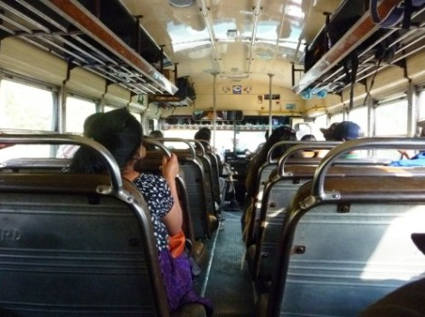 the glorious inside of a chicken bus