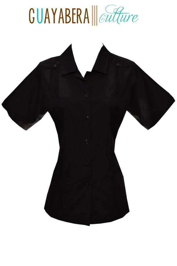 Mojito Short Sleeve Female Guayabera Black Front