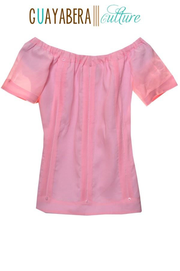 Off Shoulder Linen Pink Guayabera Back