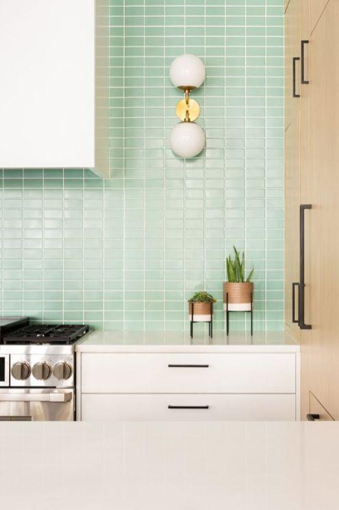 нео минт, цвет, кухня, фартук, плитка, интерьер, тренды, 2020, ремонт, дизайн, мода, 10 трендов