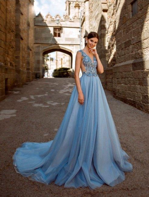 выпускное платье, голубое, в пол, летящее, платье на выпускной, бил, выпускница, наряд, купить, петрозаводск, студия, ле рина, le rina
