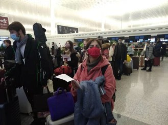 Россияне в аэропорту Уханя