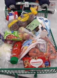 продукты лежат в магазинной корзине