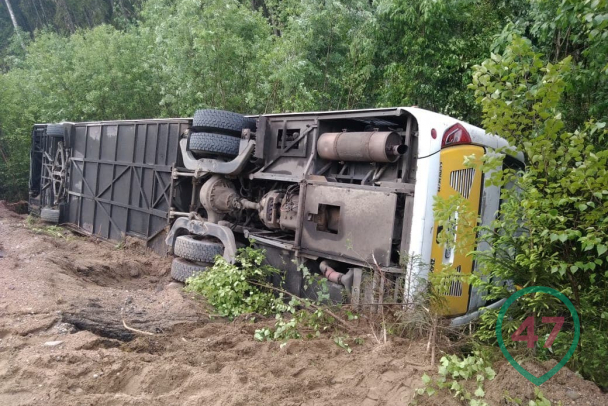 автобус перевернулся на дороге