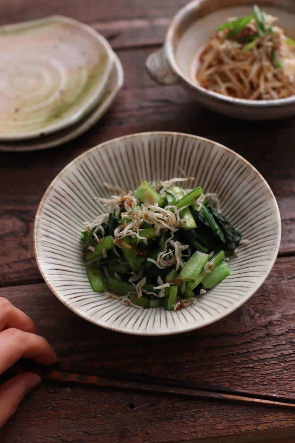 【レシピ】小松菜のかつおじゃこ和え