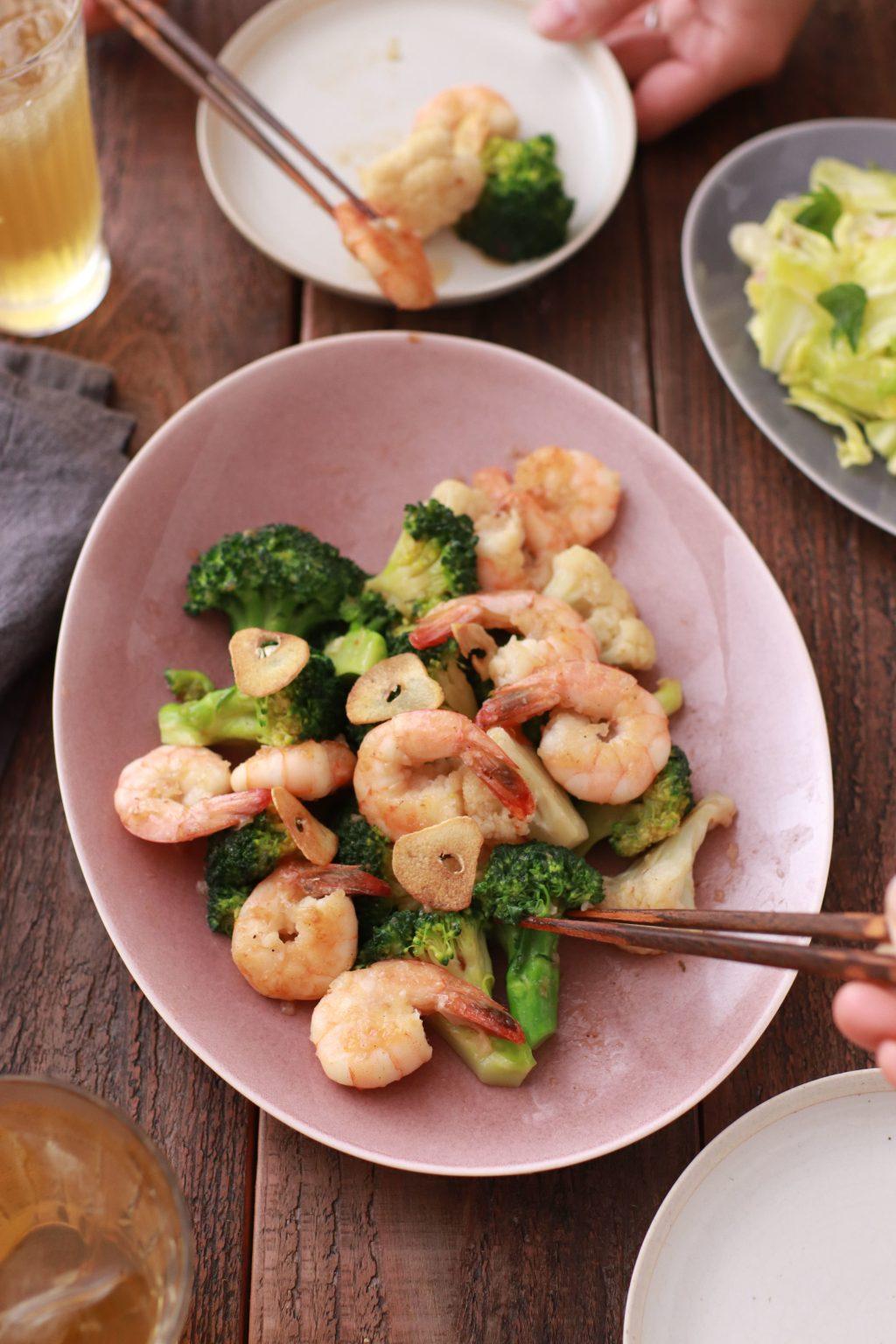 【レシピ】エビとブロッコリーのガーリック炒め