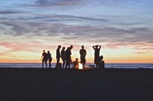 people enjoying a campfire