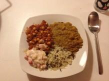 Chana masala, dahl & raita m. ris