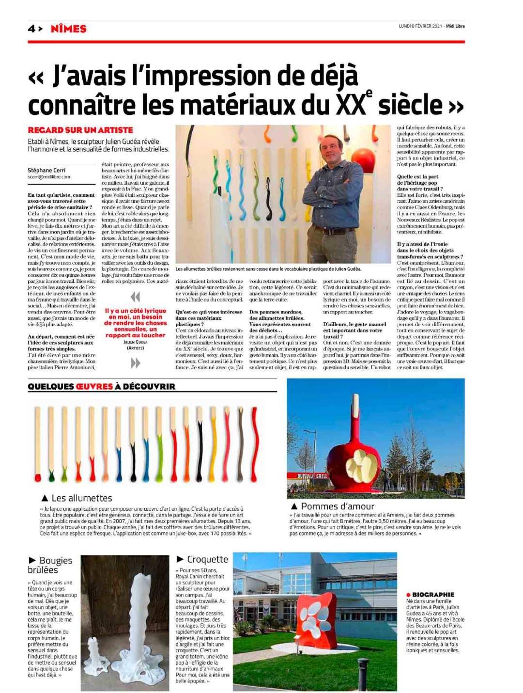 artiste sculpteur resine Julien Gudea midi libre