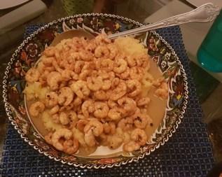 BBQ Shrimp + polenta (corn grits!)