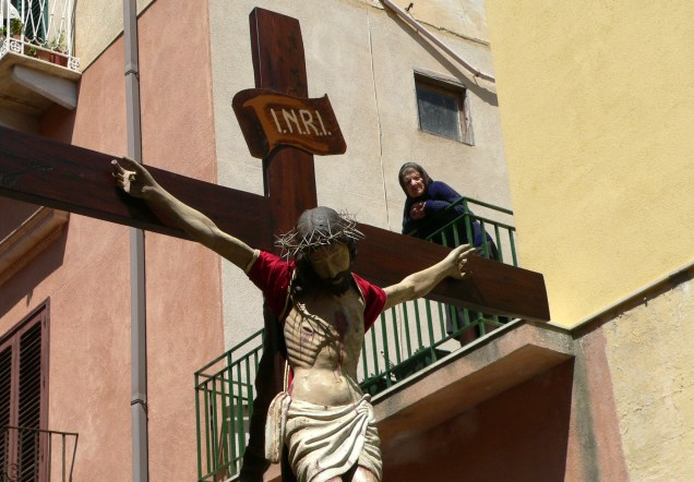 Old Woman Over Cross